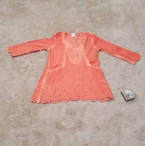 Fade out lace hems v neck beach cover up or tunic